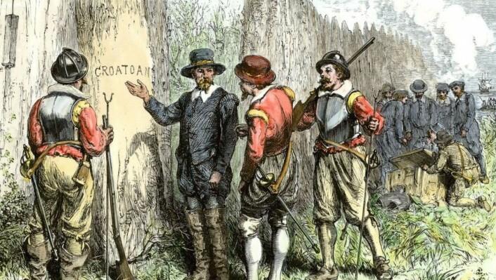 Ordet 'CROATOAN' var det eneste sporet John White fant etter kolonistene da han kom tilbake til Amerika. (Foto: North Wind Picture Archives/Alamy)