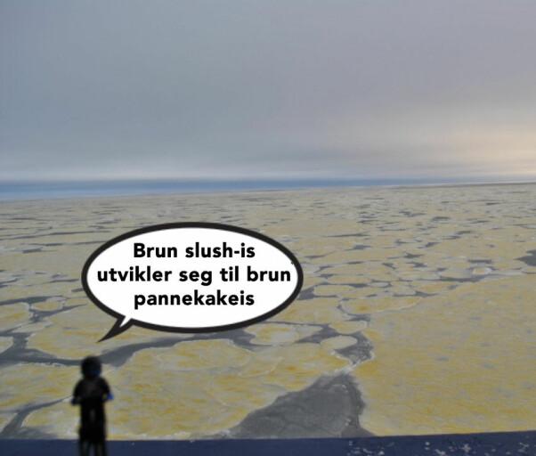 Kvifor er det brune flekkar på isen?