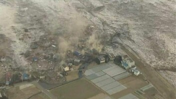 Tsunamien skyller inn over nord-vestkysten av Japan etter jordskjelvet 11. mars 2011
