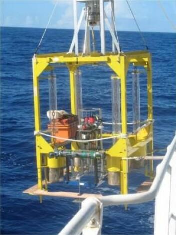 Måleinstrumentet er i stand til å måle mengden av oksygen og gjør et fritt fall 11 km. (Foto: Anni Glud)