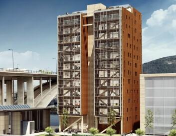 Trehuset som er i ferd med å komme opp i Bergen blir verdens høyeste, med sine 14 etasjer. Sannsynligvis blir trehus mest vanlig i litt lavere bygg, opp til åtte etasjer. (Foto: (Bilde: BOB/Artec))