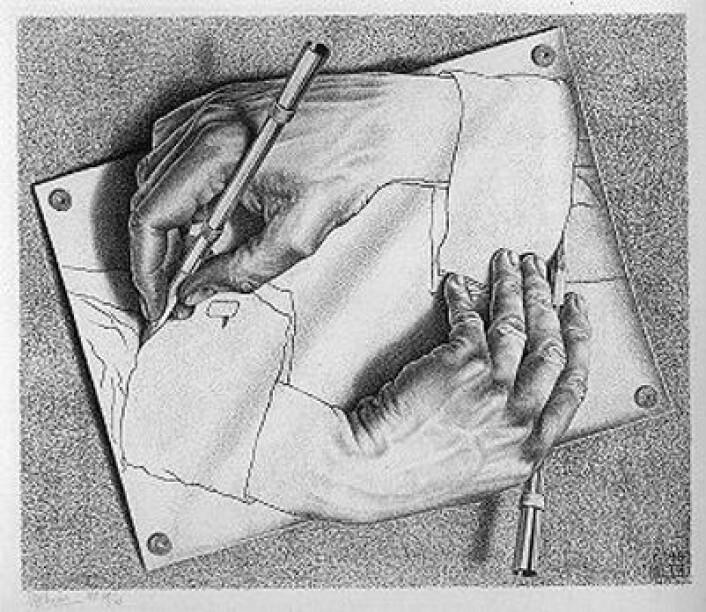 Maurits Cornelis Escher: Tekenende handen, 1948. (Foto: (Bilde: M.C.Escher, Wikimedia Commons))
