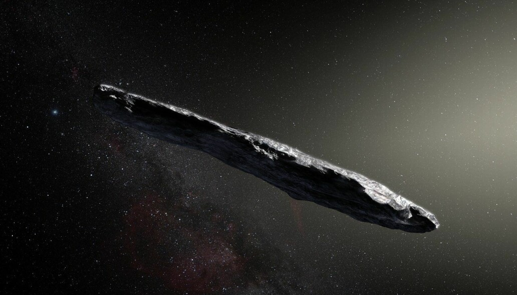 Slik ser en kunstner for seg at 'Oumuamua ser ut, hvis det er en naturlig asteroide. Den er rundt 400 meter lang, med en mørkerød farge.