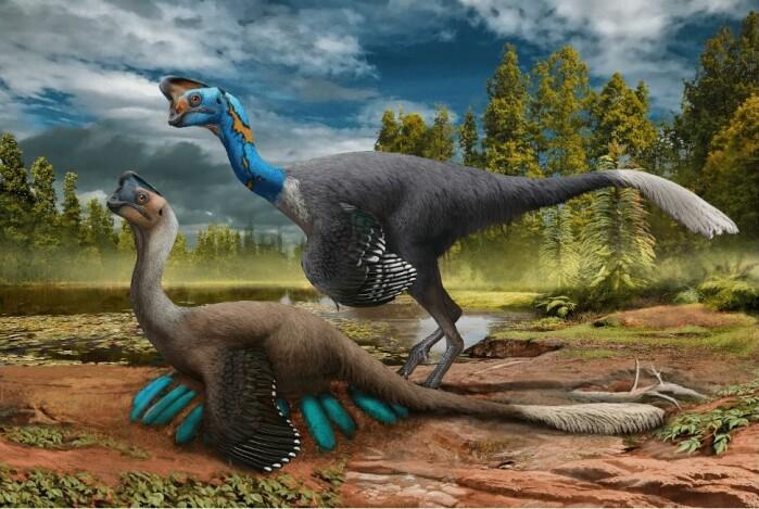 Slik kan dinosauren ha sett ut. Her passer paret på eggene.