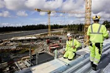 Muligheter oppstår når bygg skal reises. Her fra byggingen av Halden fengsel. (Foto: Statsbygg)