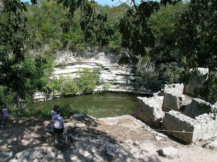 Den hellige brønnen Xtoloc Cenote, ved Chichen Itza i Mexico. Nede på bunnen er det funnet våpen, redskaper, smykker, keramikk og skjeletter. Skader på skjelettene antyder at de har havnet i brønnen i forbindelse med offerritualer. (Foto: Salhedine/Wikimedia Commons)