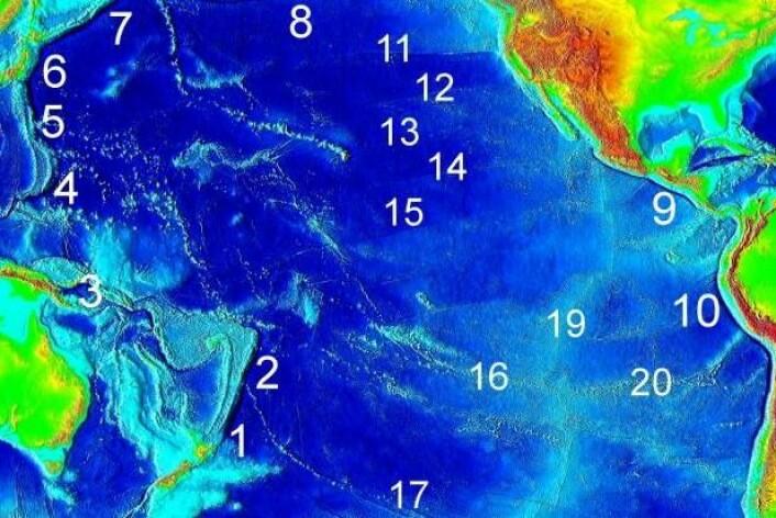 Kart over de store undersjøiske kløftene (1-10) i Stillehavet 1. Kermandec. 2. Tonga grav. 3. Bougainville. 4. Marianergropen. 5. Japanese grav. 7. Kurilene-Kamchatka. 8. Aleutian. 9. Amerika. 10. Atacamagraven. (Foto: (Illustrasjon: NOAA))
