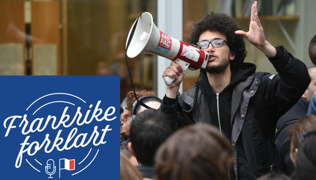 Fra en studentdemonstrasjon i Frankrike.