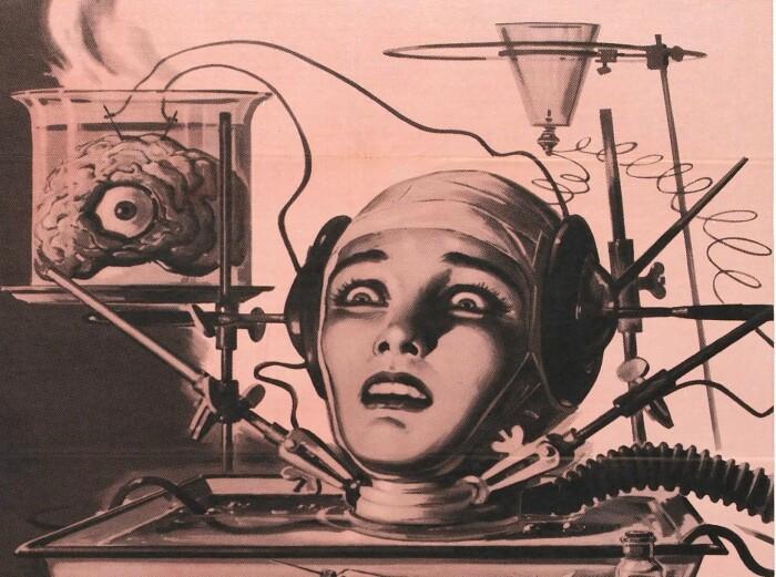 "Kinoplakat for filmen The Brain That Wouldn´t Die fra 1962. Se <a href=""https://en.wikipedia.org/wiki/Brain_in_a_vat#/media/File:Brainthatwouldntdie_film_poster.jpg"" aria-label="""">hele plakaten her!</a>"