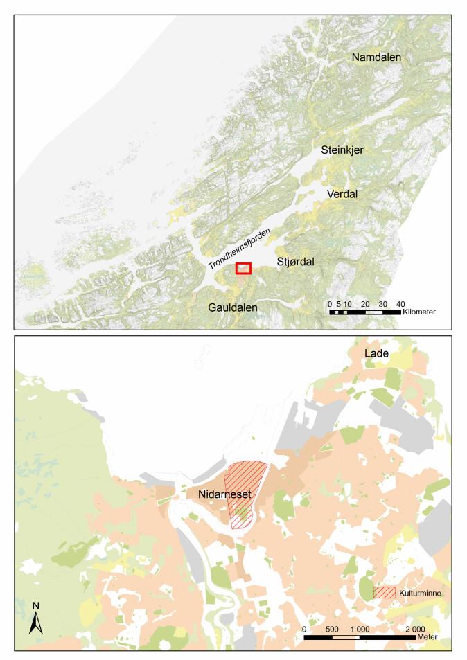 Nidarnesets geografiske plassering og utstrekningen av kulturminnet «Middelalderbyen Trondheim» (rød skravering).