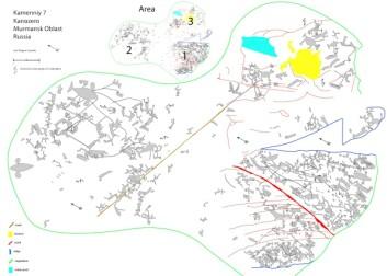 Denne oversikten viser alle helleristningene på hovedfunnstedet på Kanozero. (Bilde: Jan Magne Gjerde)