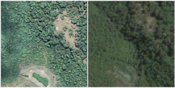 """""""Bildet til venstre, tatt 5. mai 2004, viser en liten bosetning. Til høyre er samme sted 23. februar 2007. Nå er alle strukturene borte. Dette stemmer overens med opplysninger om et angrep i dette området i desember 2006."""""""