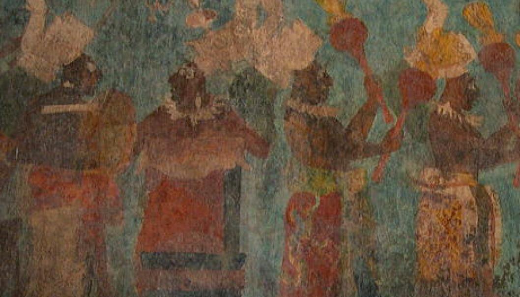 Klar blåfarge har overlevd godt over tusen år på dette veggmaleriet i Bonampak, Mexico. (Foto: Jacob Rus/Wikimedia Commons) Jacob Rus/Wikimedia Commons
