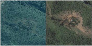 """""""Bildene viser en militærleir. Til venstre ser vi området 11. november 2000, mens fotoet til høyre viser samme sted 13. desember 2006. Bildene stemmer godt med rapporter fra menneskerettighetsgruppa Free Burma Rangers, som fortalte om stor vekst i leiren i 2006."""""""