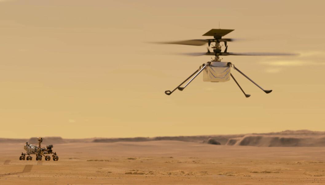 Slik ser Nasa for seg Ingenuity på flytur over Mars. Den første prøveflygingen skjer tidligst på søndag.