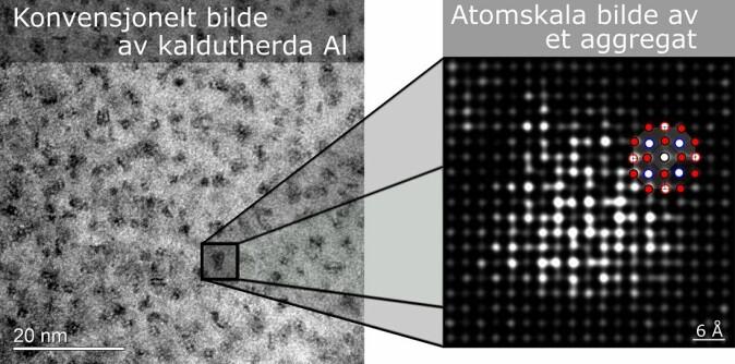 Her er et konvensjonelt bilde av hva du kan se i et TEM, sammenlignet med det folk ved NTNU nå har observert på atomnivå.