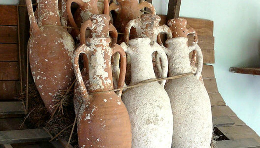 Amforear fra Bodrum Castle i Tyrkia. Kan krukkene ha blitt stablet slik under sjøreisene? Ad Meskens/Wikimedia Commons
