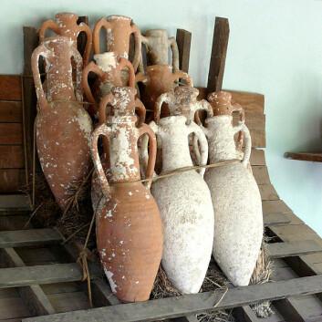 Amforear fra Bodrum Castle i Tyrkia. Kan krukkene ha blitt stablet slik under sjøreisene? (Foto: Ad Meskens/Wikimedia Commons)