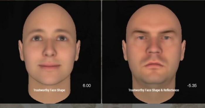 Ansiktsform kan påvirke om vi synes personen ser tillitsvekkende ut eller ikke.