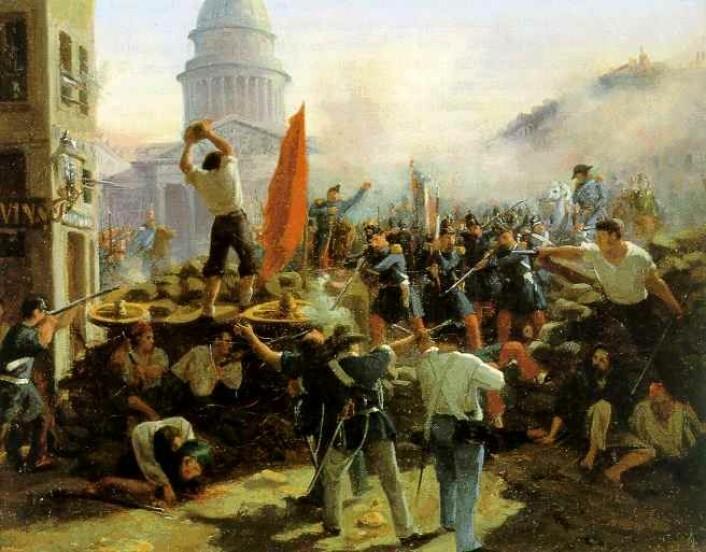 I 1848 startet en revolusjonsbølge i Paris. Den skylte opp gjennom Tyskland og presset de danske makthaverne til demokratiske reformer. (Foto: (Maleri: Horace Vernet-Barricade: Rue Soufflot))