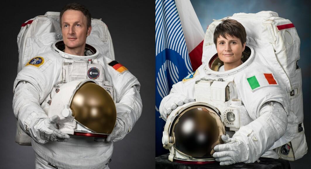 Offisielle portretter av ESA-astronautene Matthias Maurer og Samantha Cristoforetti.