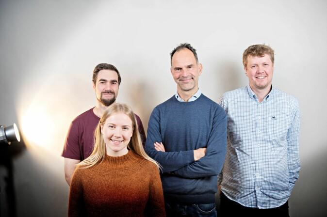 Forskerne ved Nofima som jobber mest med ramanspektroskopi er fra venstre Petter Velje Andersen, stipendiat Tiril Aurora Lintvedt, Jens Petter Wold og Nils Kristian Afseth.