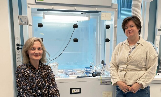 Forskningsdirektør Eldbjørg Heimstad (t.v.) og seniorforsker Dorte Herzke finner en lang rekke ulike miljøgifter i prøver tatt av dyr som lever i og rundt Oslo.