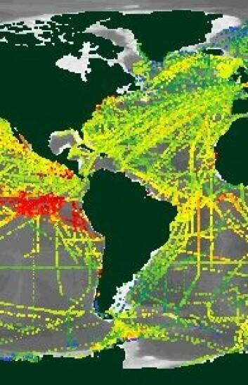 Noen havområder har bedre målinger enn andre. Sammenlign for eksempel østkysten av USA med områdene utenfor det sørvestlige Sør-Amerika. (Grafikk: SOCAT)