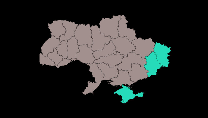 Kart over Ukraina med konfliktområdene markert i lyst blått. I sør ser du den mye diskuterte Krim-halvøya, mens du i øst kan se Luhansk og Donetsk, som tilsammen utgjør Donbass regionen.
