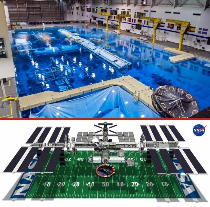 Seks timer i svømmebassenget, der du hopper rundt på romstasjonen i en romdrakt og reparerer ting. Lyder det ut som noe du kunne ha lyst til? Treningsromstasjonen ligger i Nasas Neutral Buoyancy Laboratory (NBL), like ved Johnson Space Center i Houston.