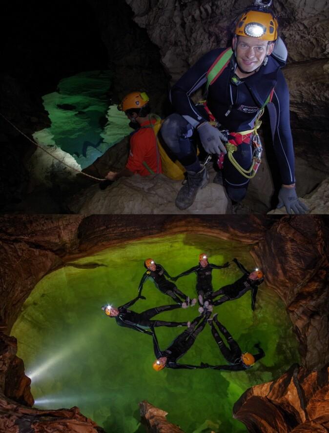 Øverst: I den bekmørke hulen på Sardinia var hodelykten Andreas Mogensens eneste lyskilde. Nederst: Grottetreningen setter ikke bare astronautenes utholdenhet og styrke på prøve. Samarbeids og kommunikasjon blir også satt under maksimalt press.