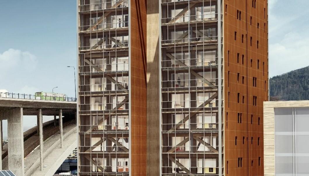 Trehuset som er i ferd med å komme opp i Bergen blir verdens høyeste, med sine 14 etasjer. Sannsynligvis blir trehus mest vanlig i litt lavere bygg, opp til åtte etasjer. (Bilde: BOB/Artec)