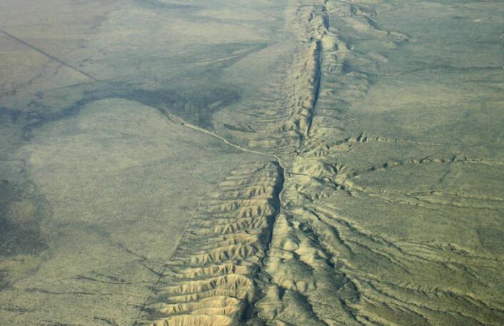 San Andreas-forkastningen går som et sår i landskapet.