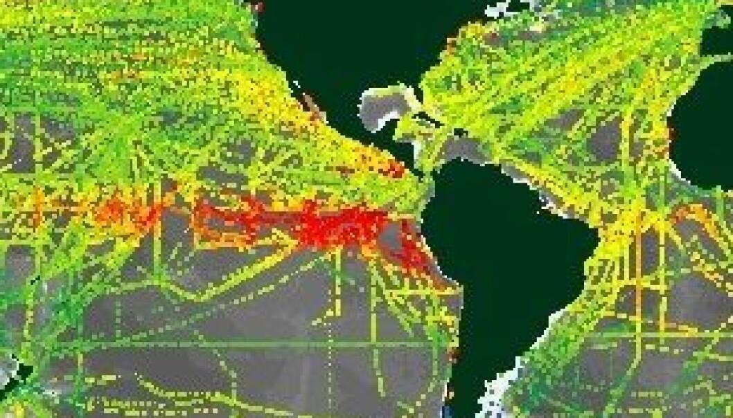 Dette oversiktsbilde viser CO2-konsentrasjonen i de forskjellige havområdene. Jo varmere farger, jo mer karbondioksid er det i vannet. (Grafikk: SOCAT)