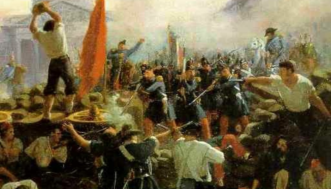 I 1848 startet en revolusjonsbølge i Paris. Den skylte opp gjennom Tyskland og presset de danske makthaverne til demokratiske reformer. (Maleri: Horace Vernet-Barricade: Rue Soufflot)