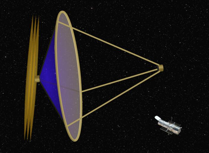 Et romteleskop der speilet er et tynt membran som formes av ultrafiolett stråling bakfra. Strålingen styrer molekyler av stoffet azobenzen, som vrir seg når det belyses. Slik kan hvert enkelt punkt på membranet justeres. (Foto: (Illustrasjon: Arnfinn Christensen, forskning.no, etter original fra Joe Ritter, University of Hawaii))