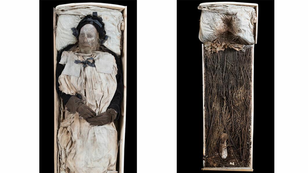 Bildet til venstre viser Peder Winstrups mumie. Til høyre er fosteret som lå i fotenden, under føttene til biskopen.