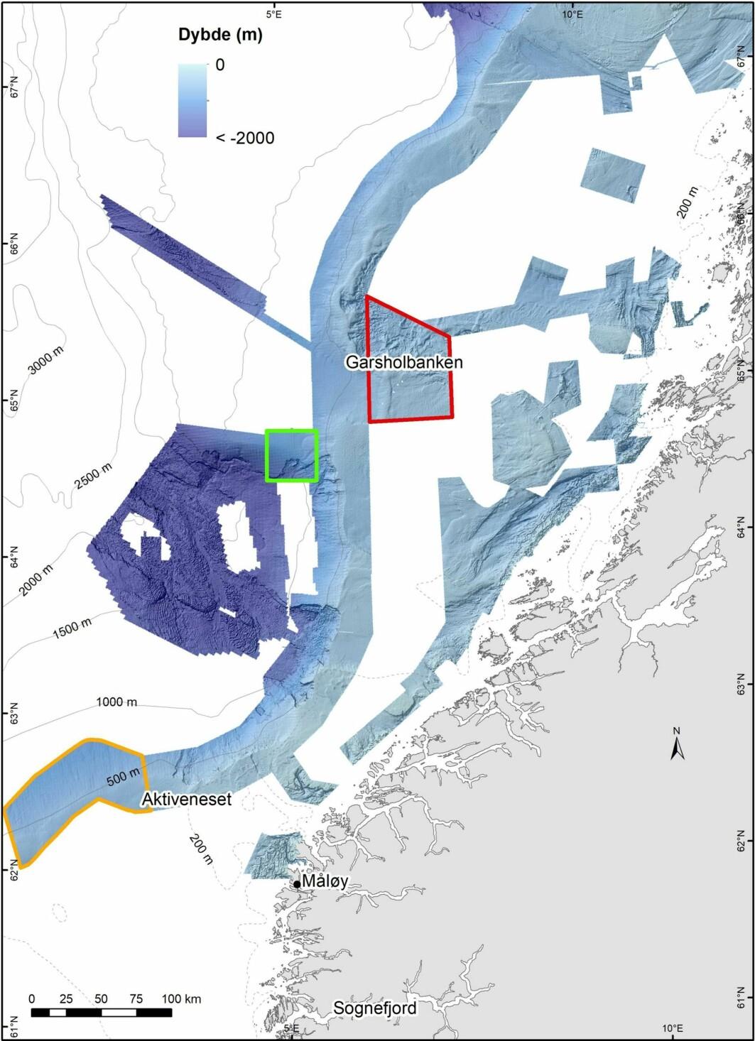 Kartet viser områder som skal undersøkes på dette toktet. Den grønne boksen er område med betegnelsen NH01-B01, et område i skråningen i nordlig del av Storegga. Havbunnsterrenget er farget i blåtoner og angir dyp. Slike detaljerte data er i stor grad fremskaffet ved Mareano sin dybdekartlegging. (Kart: Valerie Bellec, NGU)