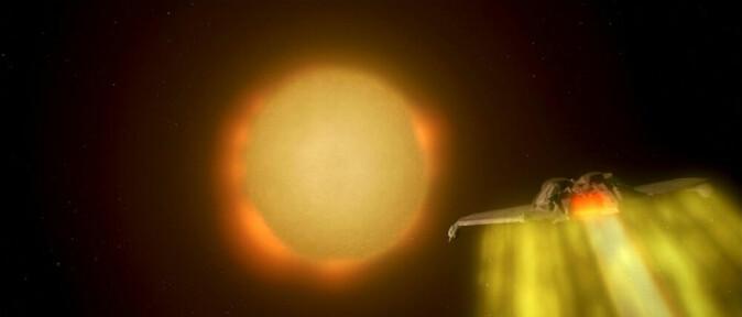 Solen ser ikke gul ut i verdensrommet, selv om den ofte fremstilles sånn. Her fra Star Trek IV.