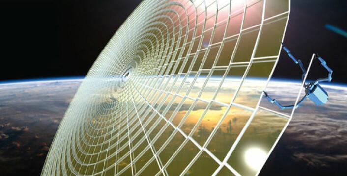 En edderkopplignende robot printer et enormt radioteleskop med et rammeverk av fagverk-konstruksjon. (Foto: (Illustrasjon: NASA NIAC/Tethers Unlimited))