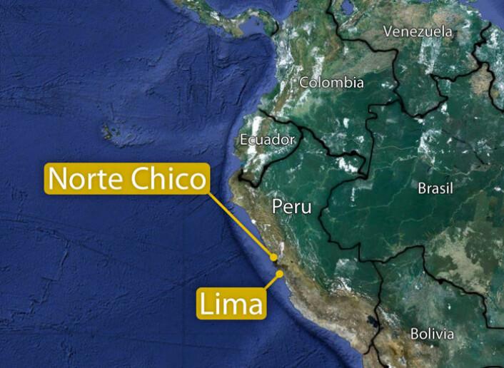 Norte Chico ligger ved kysten i det sentrale Peru. (Foto: (Kart: Google Maps/tilpasset forskning.no/Per Byhring))