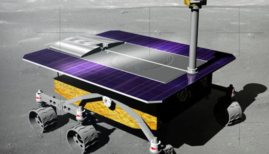 """Månebilen White Label, en av deltakerne i Google Lunar X-prize. (Illustrasjon: Hakuto, <a href=""""http://creativecommons.org/licenses/by-sa/3.0/"""">Creative Commons</a>)"""