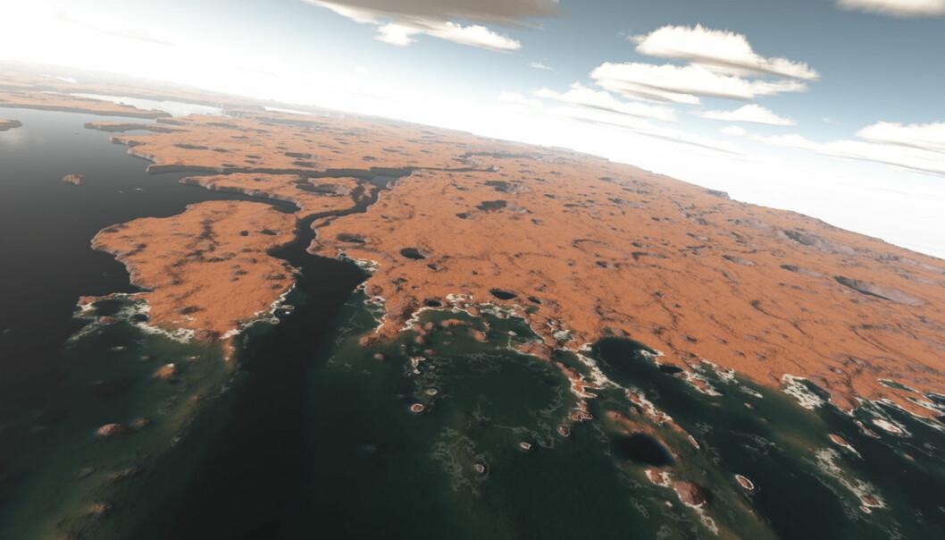 Kystområdet ved Xanthe Terra slik det kan ha sett ut for rundt 3,5 milliarder år siden da Mars hadde hav. (Illustrasjon: G. Di Achille/Nature)