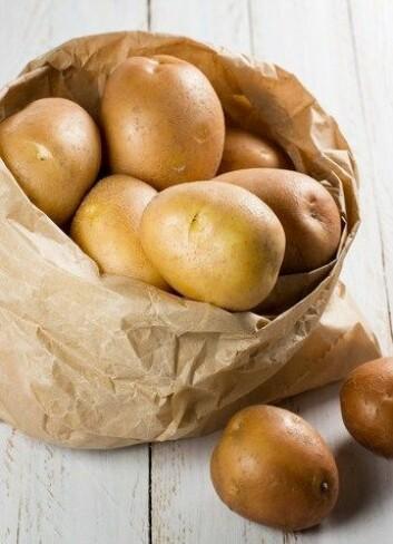 Poteter kan bli gifige hvis de blir utsatt for mye lys. Det ser man ved at den blir grønn under skallet (Foto: Colourbox)