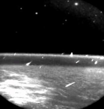 Panspermiateorien foreslår at livet kom til jorden med mikroorganismer inne i langveisfarende meteorider. Her er meteorsvermen Leonidene fotografert fra verdensrommet i 1997. (Foto: NASA)