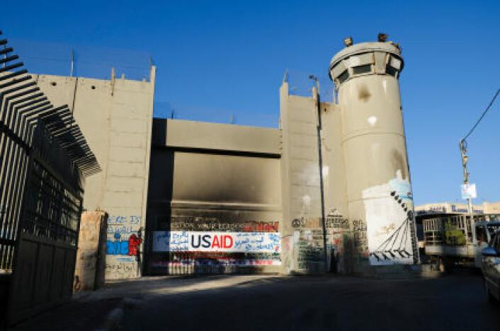Et vakttårn i Betlehem, ved muren som skiller det palestinske området Vestbredden fra Israel. (Foto: iStockphoto)