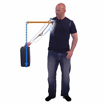 Tron Krosshaug illustrerer vekt- eller momentarm.