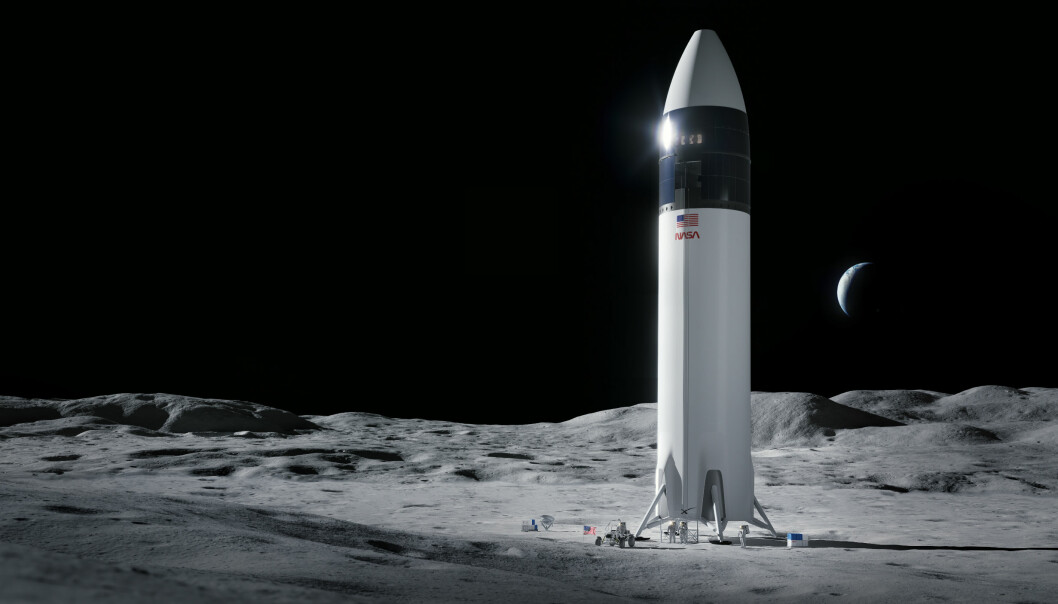 Slik ser SpaceX for seg at deres månelandingsversjon av Starship kan se ut, når den har landet på månens overflate.