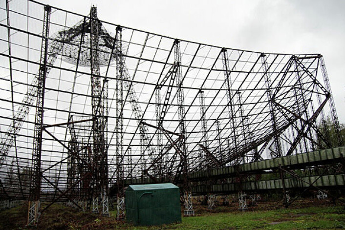 Radaren utenfor Kharkiv i Ukraina er et av verdens største radaranlegg, som måler 100 meter i diameter. En annen slik radar befinner seg utenfor Tromsø. Foto: Frøy Katrine Myrhol