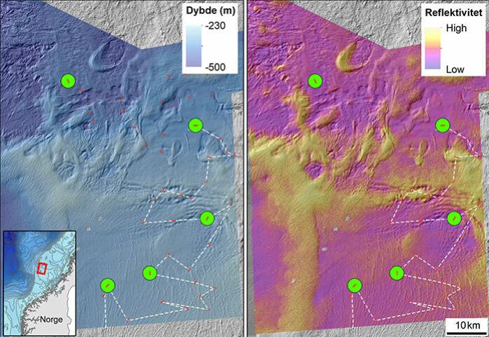 Kart over Garsholbanken. De røde linjene viser hvor havbunnen blir filmet. Stasjonene, markert med grønn sirkel, viser hvor vi har gjennomført fysisk prøvetaking. Kartet til venstre viser havdypet og kartet høyre viser om bunnen er relativt myk (fiolett), middels hard (oransje) eller hard (gul farge). Den stiplede linjen viser ruten for kartleggingen med start i sør.